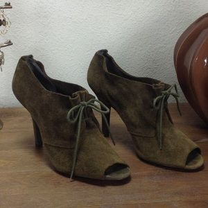 BCBG Army Green Suede Lace Up Open Toe Bootie